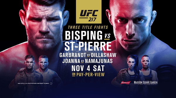 Watch UFC 217 Bisping vs St-Pierre 11/4/17 Live Online Full Show | 4th November 2017